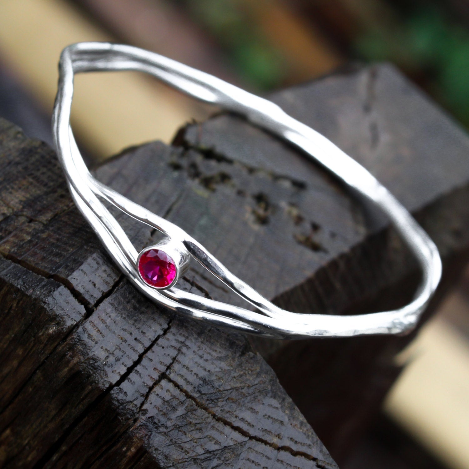 Ruby Corundum Sterling Silver Bangle