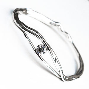 White Topaz Sterling Silver Bangle
