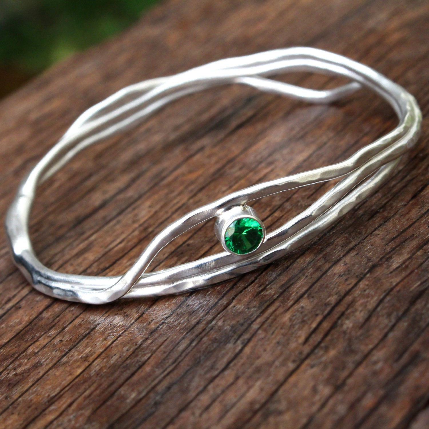 Emerald Green Sterling Silver Bangle