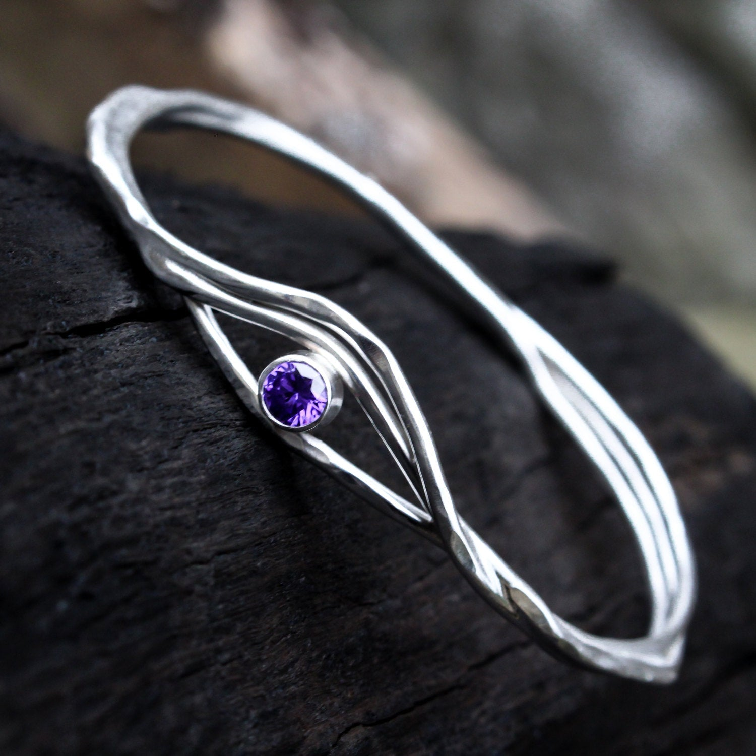 Amethyst Sterling Silver Bangle