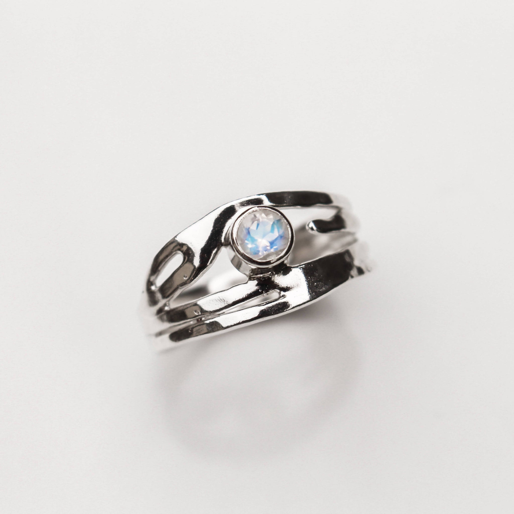 Sterling Silver Rainbow Moonstone Ring - Organic Design