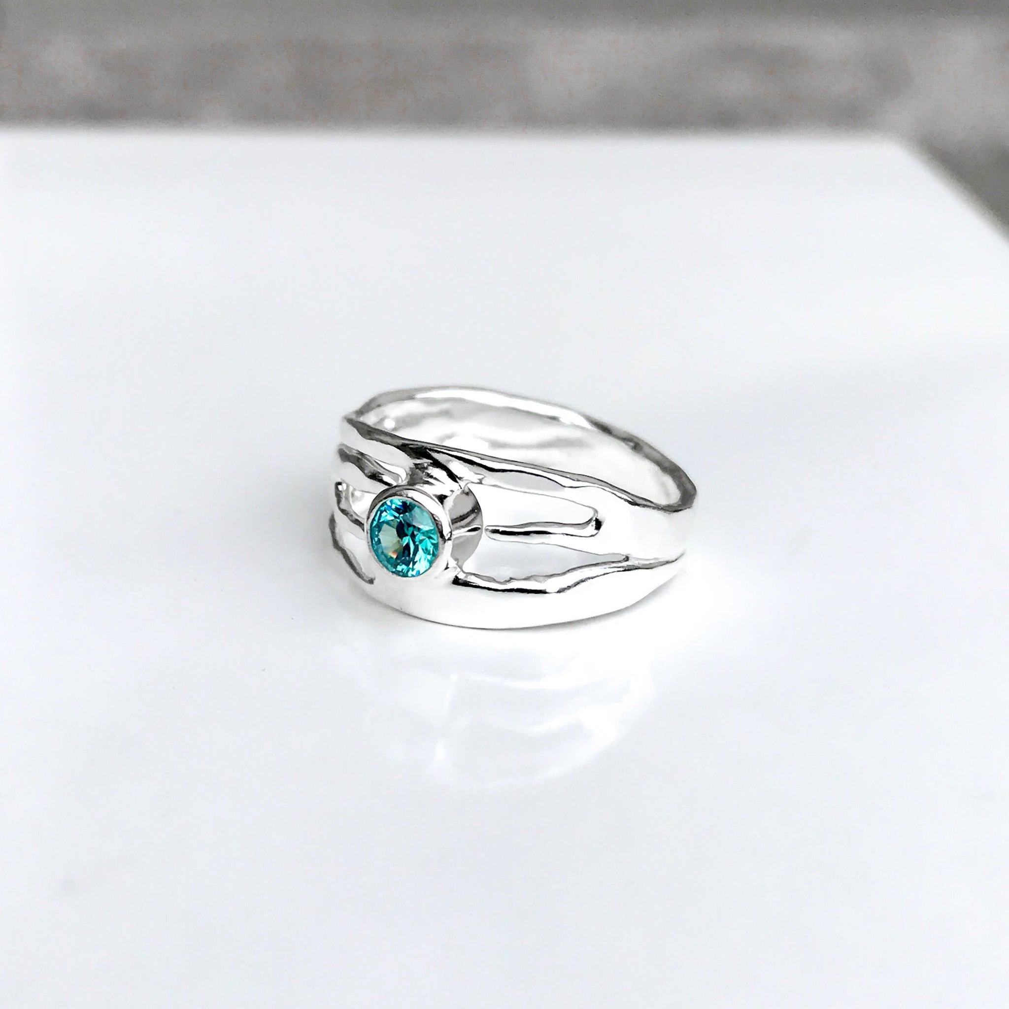 Sterling Silver Blue Topaz Ring - Organic Design