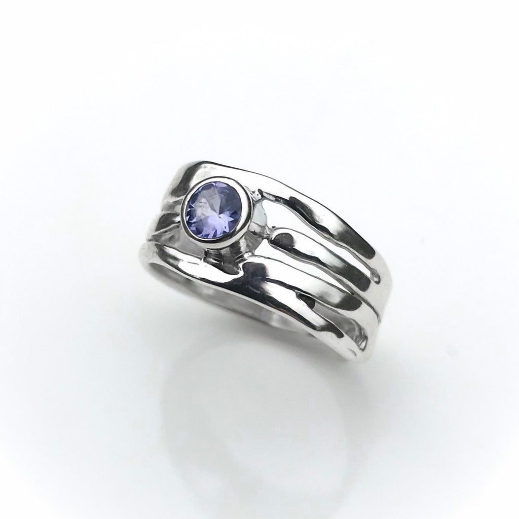 Sterling Silver Tanzanite Ring - Organic Design