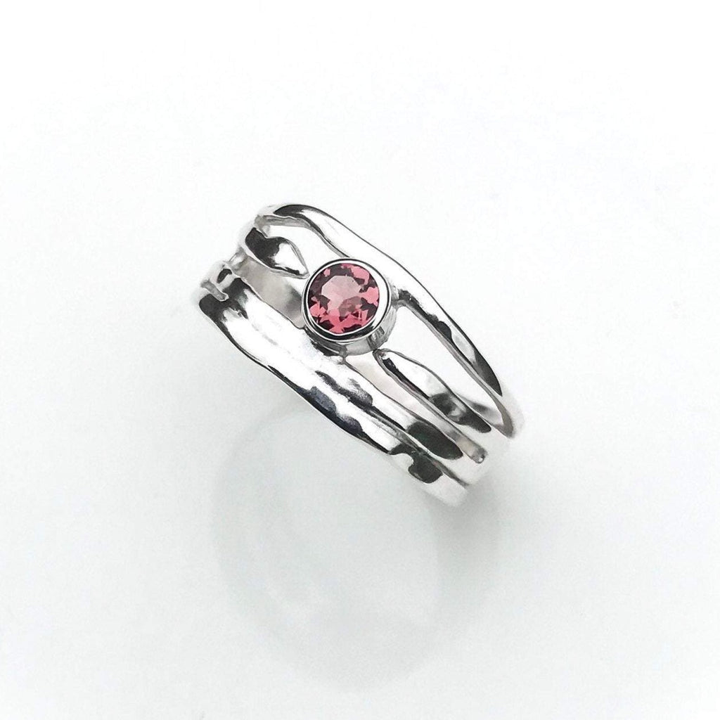 Sterling Silver Pink Tourmaline Ring - Organic Design