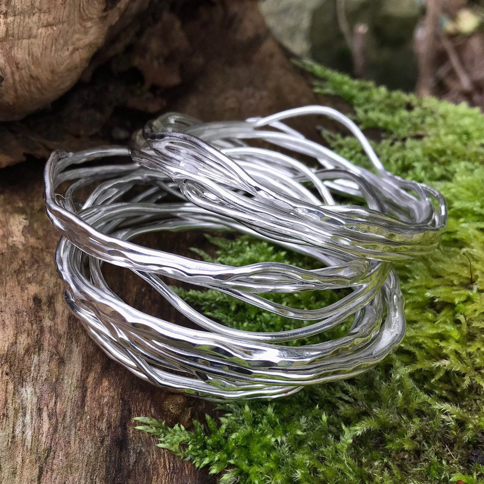 Sterling Silver Organic Design Bangles