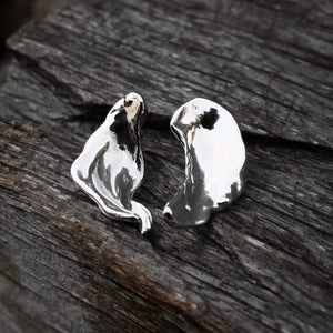 Silver Droplet Wing Earrings