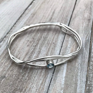 Aquamarine Sterling Silver Bangle