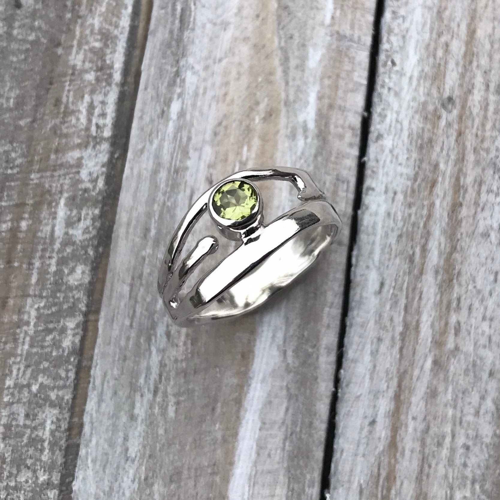 Sterling Silver Peridot Ring - Organic Design