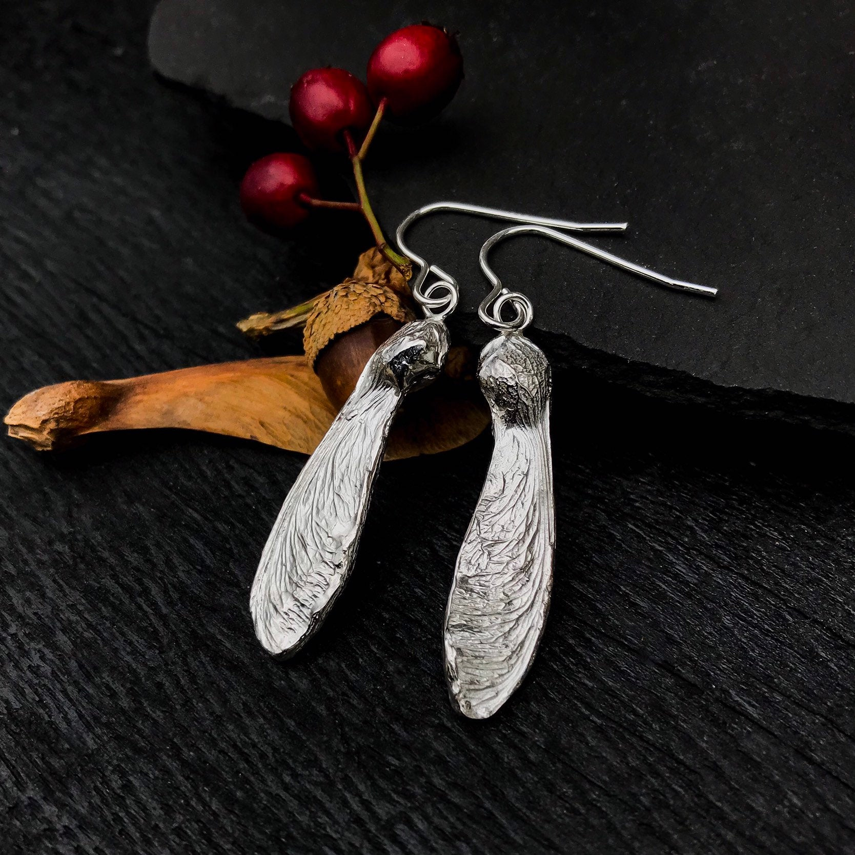 Sterling Silver Sycamore Earrings