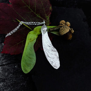 Large Sterling Silver Sycamore Seed Necklace
