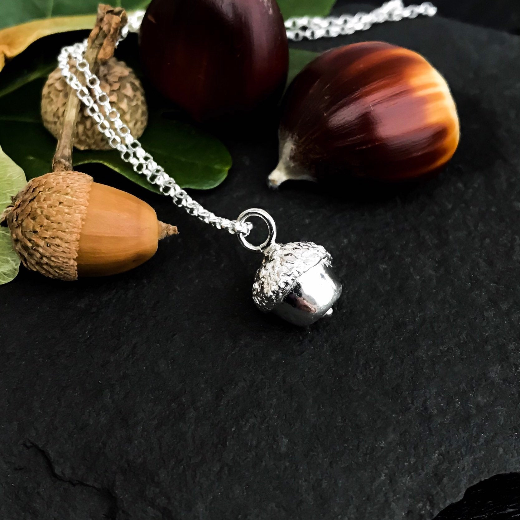 Small Sterling Silver Acorn Charm Necklace