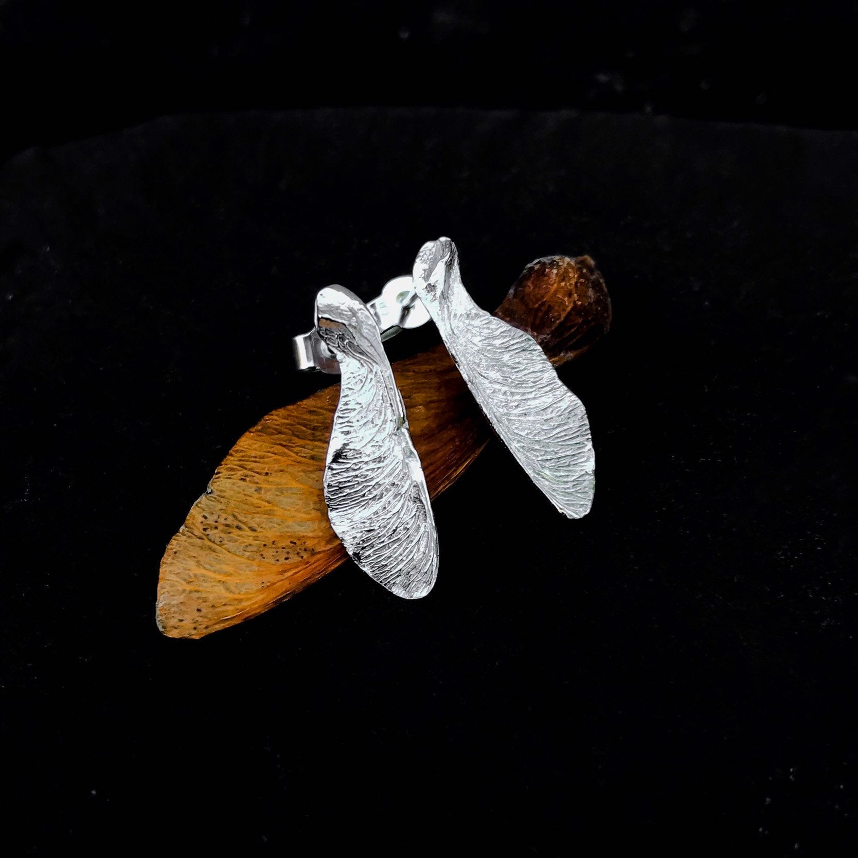Silver Sycamore Seed Earrings