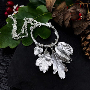 'Whispering Leaves' Sterling Silver Leaf Charm Necklace