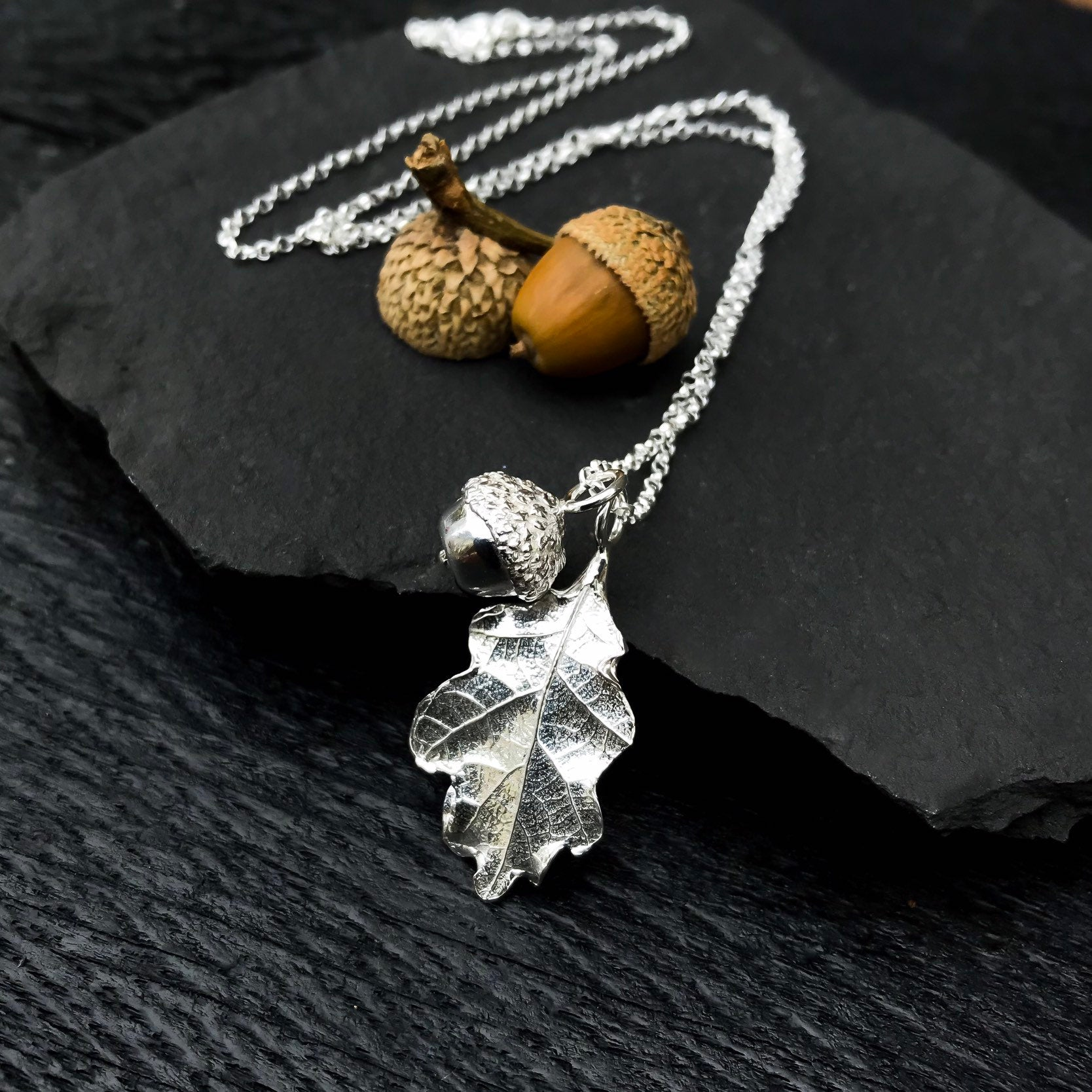 Sterling Silver Oak Leaf and Acorn Charm Necklace