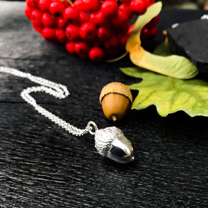Sterling Silver Acorn Charm Necklace