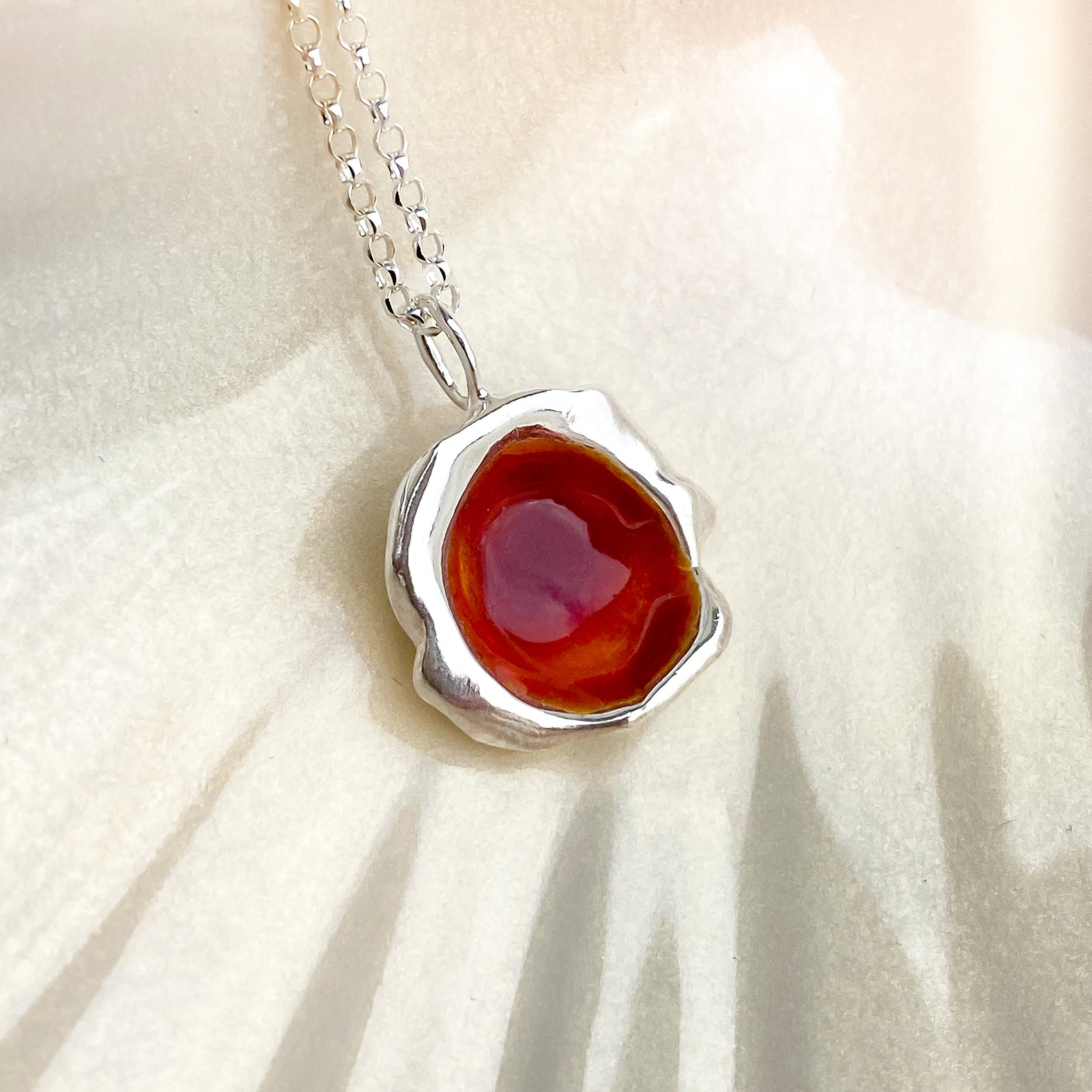 Sterling Silver 'Hawthorn Berry' Enamel Droplet Necklace