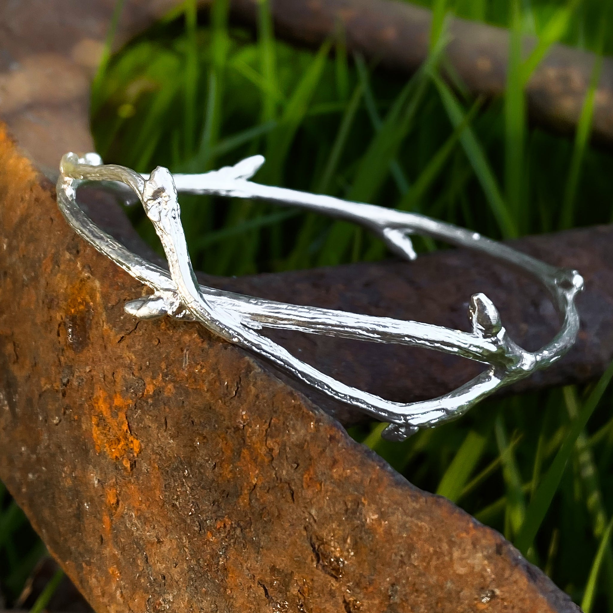 Sterling Silver Elm Twig Bangle