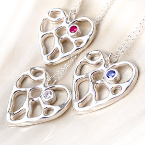 Silver Infinity Heart Necklace with Tanzanite