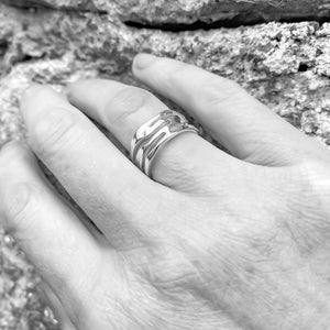 Organic Design Wide Sterling Silver Ring