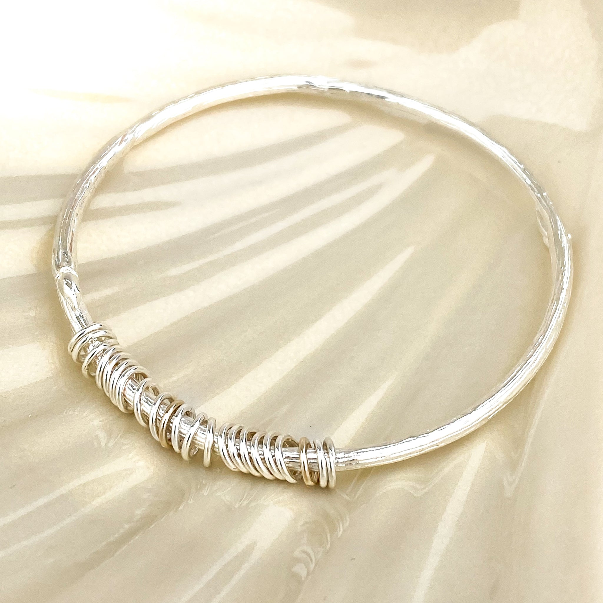 Personalised Rowan Twig Bangle with Silver rings for special occasions