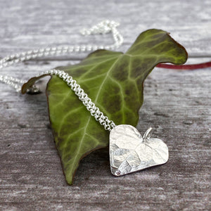 Silver Ivy Leaf Heart Necklace