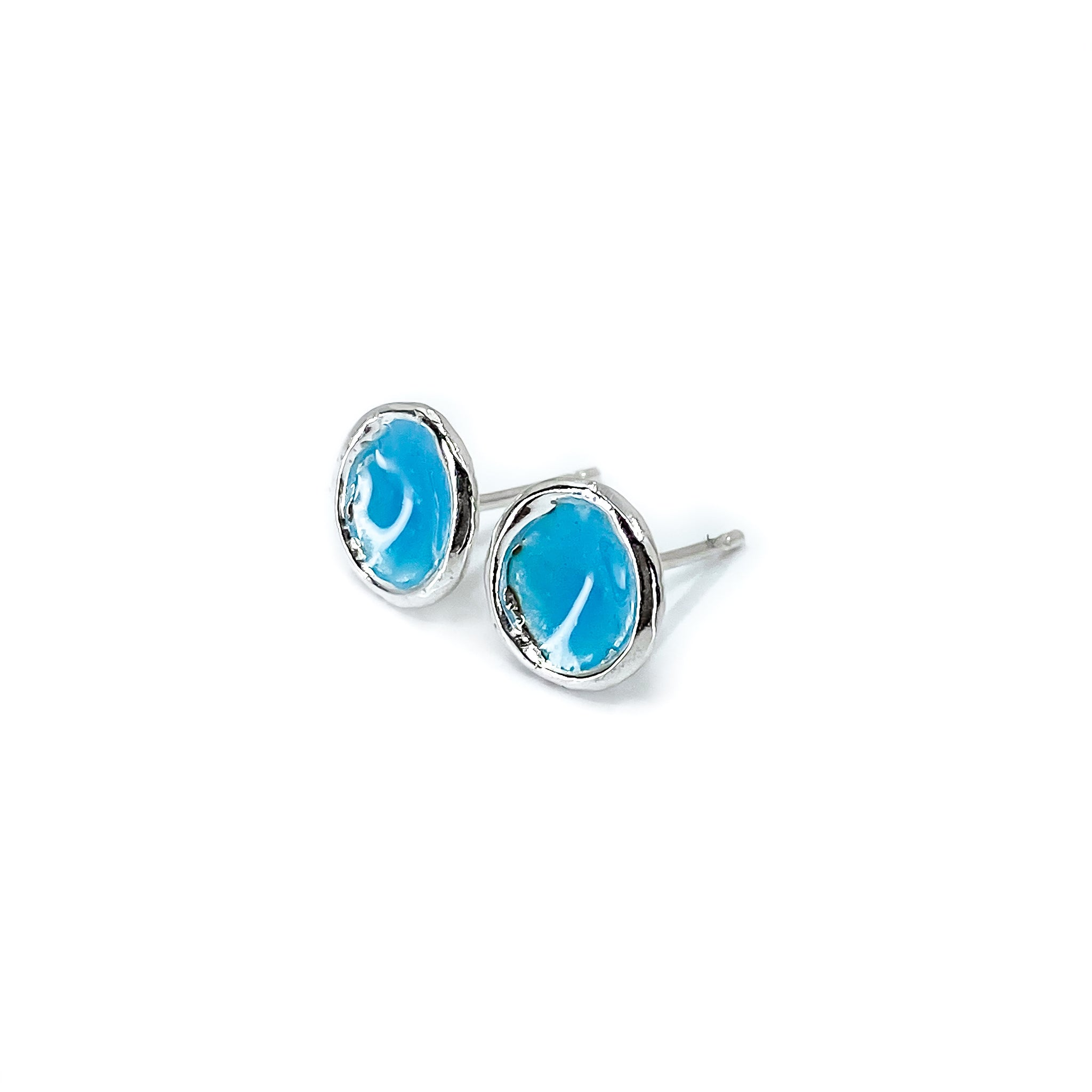 'Island Sky' Light Blue Enamel Silver Droplet Stud Earrings