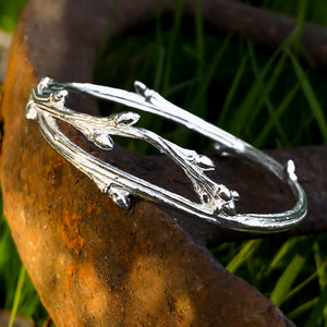 Sterling Silver Oak Bangle