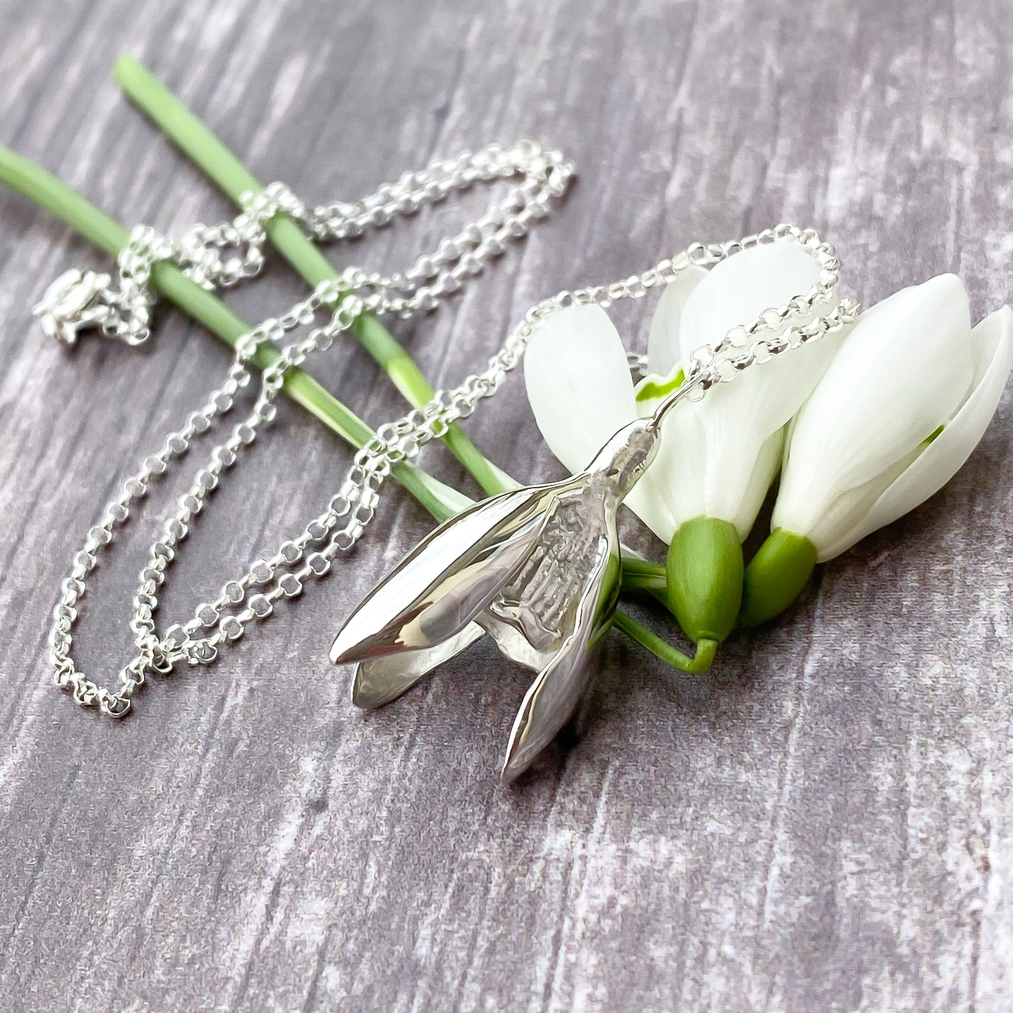 Silver Snowdrop Necklace