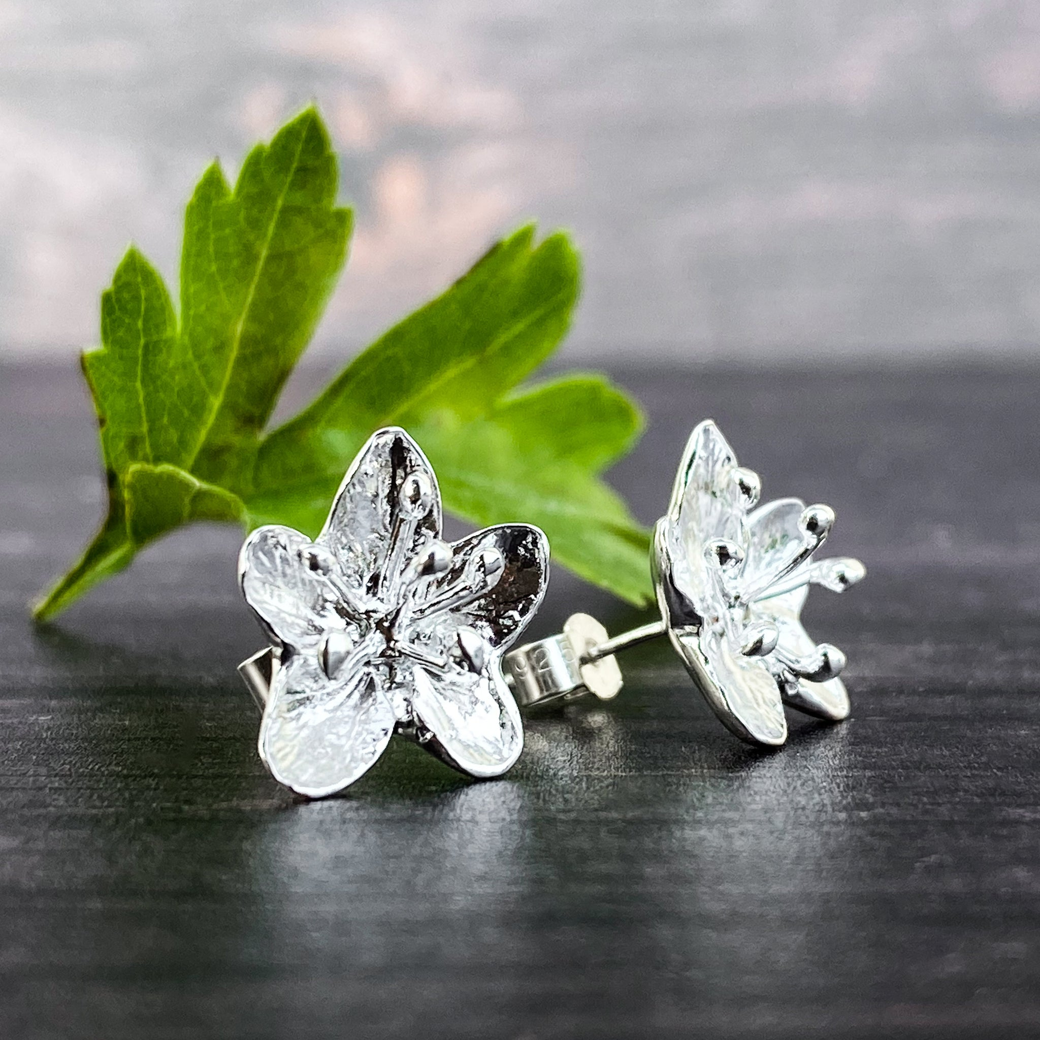 Hawthorn Flower Silver Stud Earrings