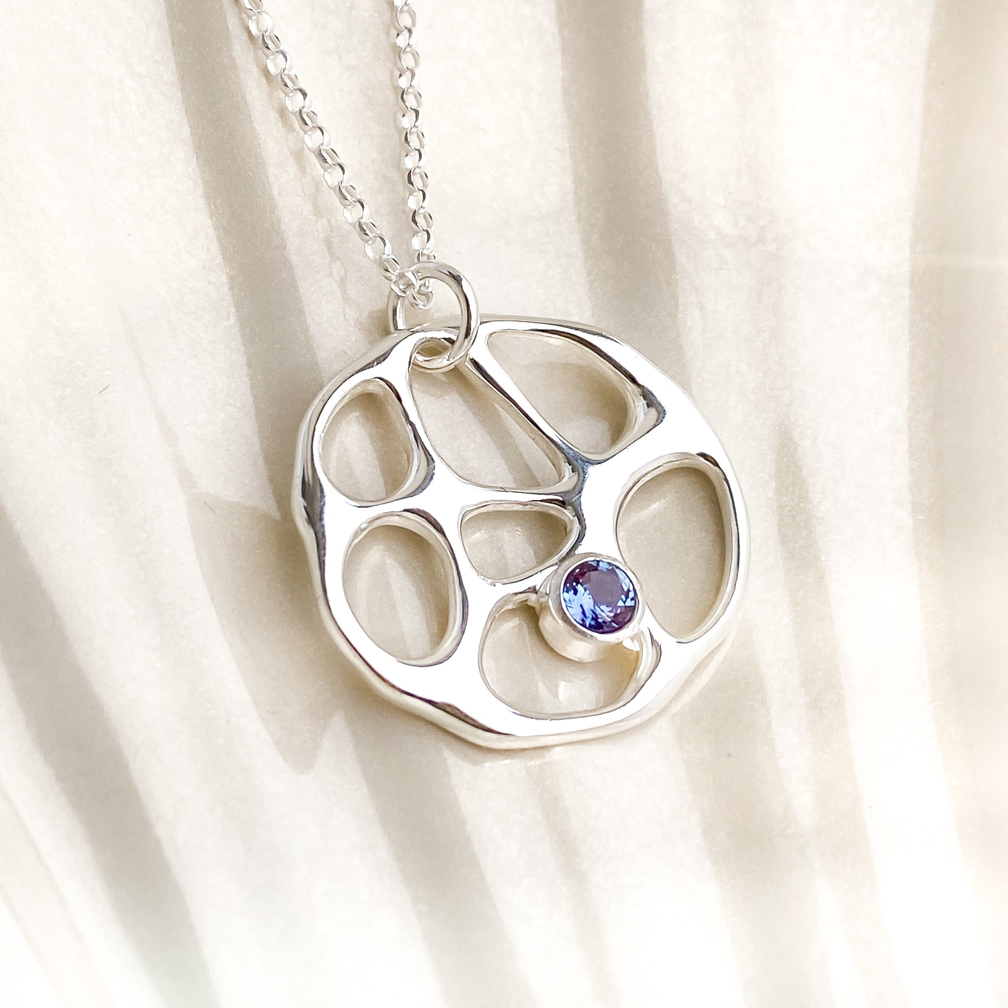 Silver Infinity Necklace with Alexandrite