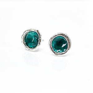 Lost Forest Green Enamel Silver Droplet Stud Earrings