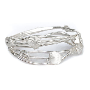 Sterling Silver Ocean Wave Shell Bangle
