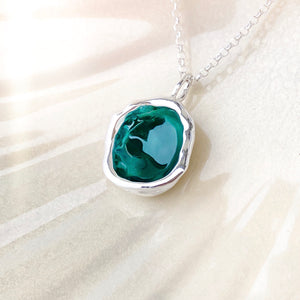 Sterling Silver 'Lost Forest' Green Enamel Droplet Necklace