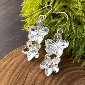 Silver Hawthorn Flower Earrings