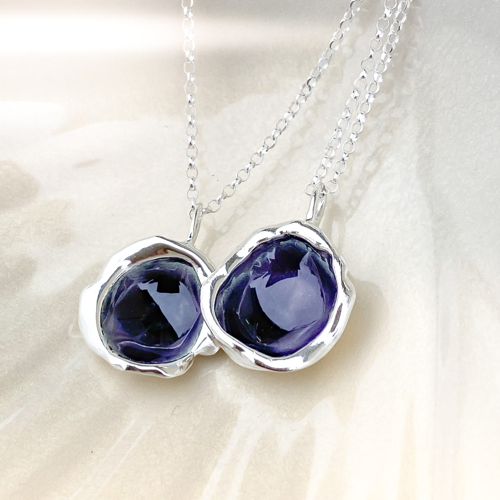 Sterling Silver 'Purple Heather' Enamel Droplet Necklace