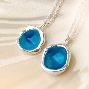 Sterling Silver 'Carrick Bay' Turquoise Blue Droplet Necklace