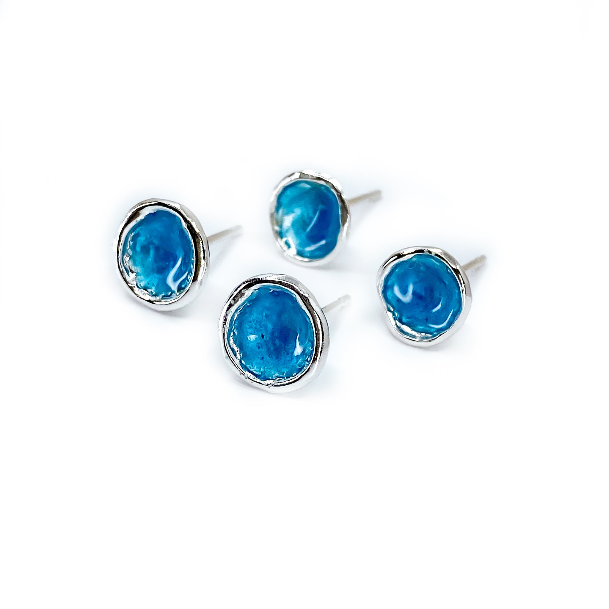 'Carrick bay' Blue Enamel Silver Droplet Stud Earrings