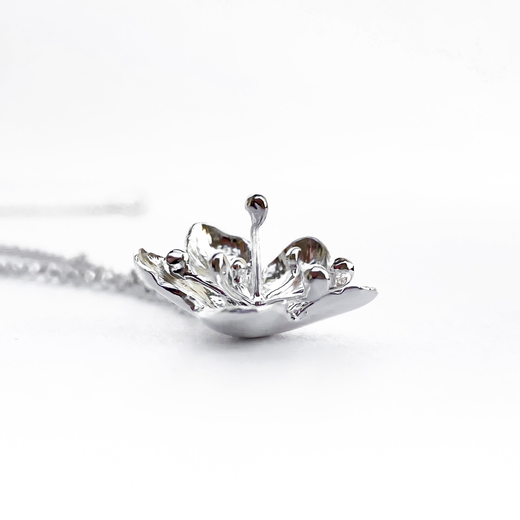 Hawthorn Flower Silver Pendant Necklace