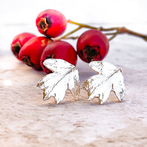 Hawthorn Leaf Sterling Silver Earrings