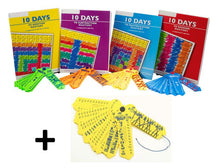 Load image into Gallery viewer, 10 Day Math Mastery Kits  w-four 64 page workbooks (+, -, X, ÷) and a FREE set of Fraction Wrap-ups