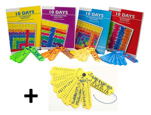 10 Day Math Mastery Kits  w-four 64 page workbooks (+, -, X, ÷) and a FREE set of Fraction Wrap-ups