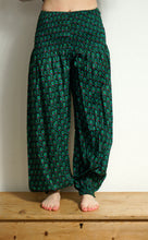 Load image into Gallery viewer, Emma's Emporium Peacock Print Cotton, festival hippie harem genie trousers