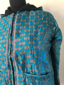 COAT - Recycled Sari winter jacket - BLUES