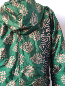 COAT - Recycled Sari winter jacket - GREENS