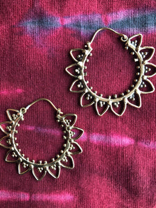 Earrings -  Brass Tribal Gypsy Spirals - Large