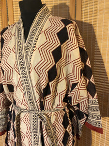 Women's natural hand block printed geometric short cotton kimono dressing gown