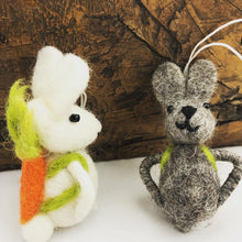 Load image into Gallery viewer, Easter Bunny, hanging rabbit decoration, with carrot backpacks! Handmade fair trade pure wool  felt hanging decoration, available at Emma's Emporium