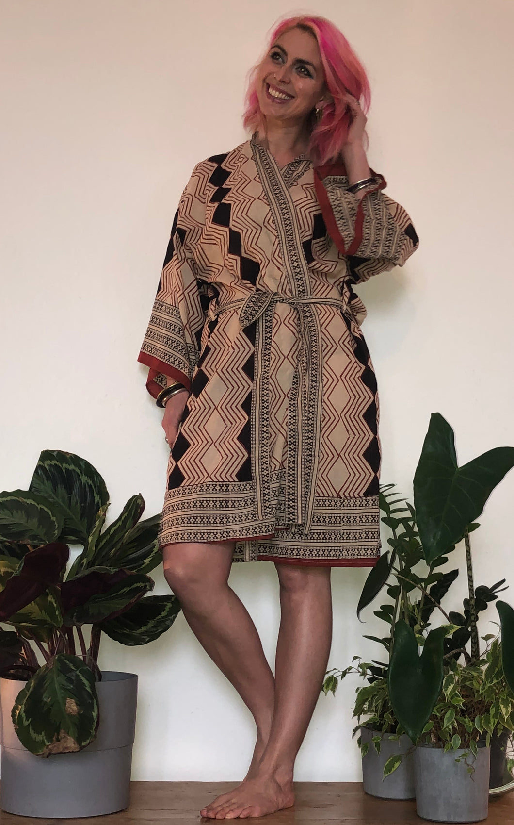 Emma's Emporium Kimono robe, hand block printed with natural dyes, 100% cotton, handmade in India