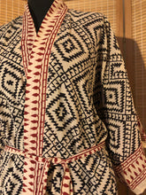 Load image into Gallery viewer, Women's natural hand block printed geometric cotton kimono dressing gown