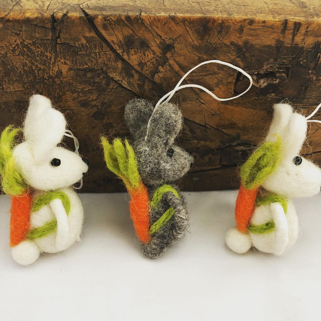Easter Bunny, hanging rabbit decoration, with carrot backpacks! Handmade fair trade pure wool  felt hanging decoration, available at Emma's Emporium